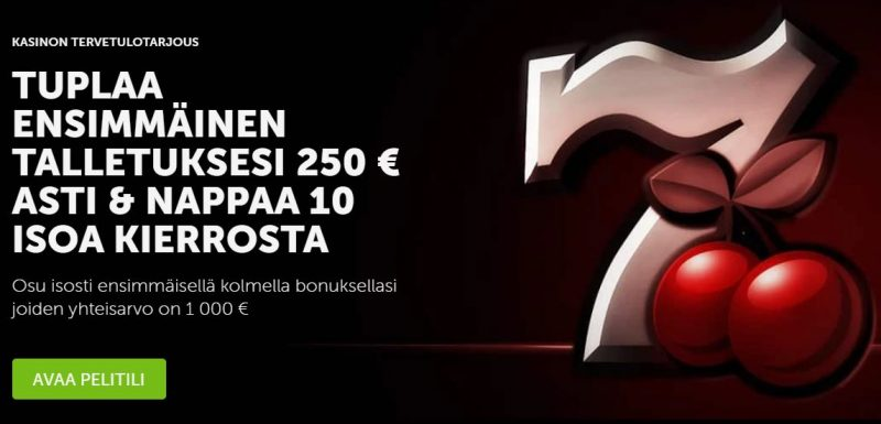 Betsafe Casinon tervetuliaisbonus on muhkea