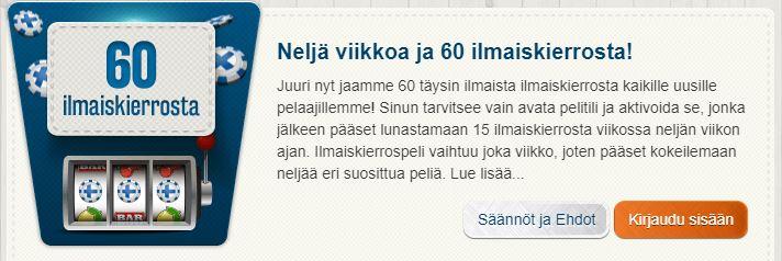 Suomiautomaatti 60 ilmaiskierrosta