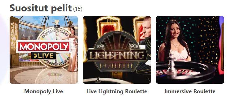 Dreamz Casino suositut livepelit