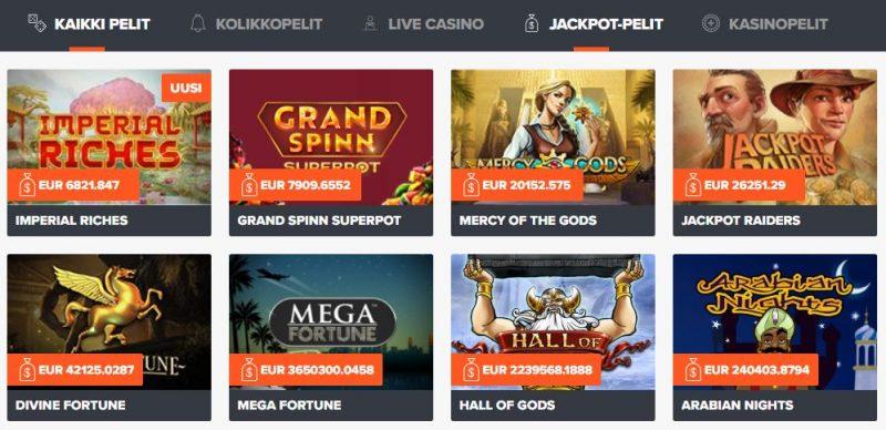 Ninja Casino jackpot-pelit