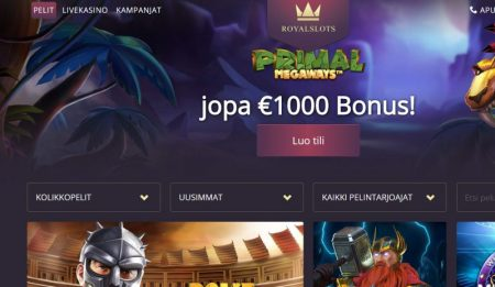 royal slots casino tarjoaa 1000€ bonusta