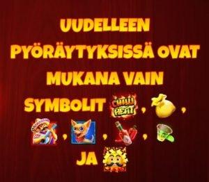 uudelleenpyöräytyksessä mukana vain arvokkaimmat symbolit