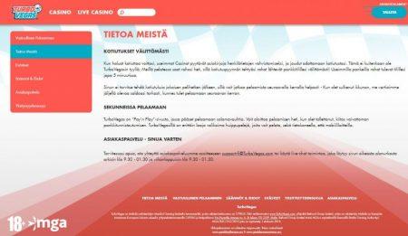 TurboVegas casino tietoa-sivu