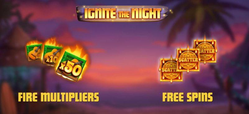 Ignite the Night kolikkopelistä löytyy mukavasti lisäominaisuuksia