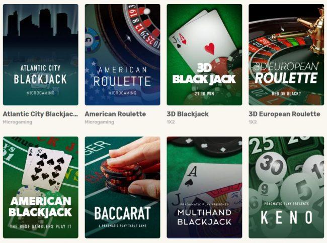 Just Spin casino pöytäpelit
