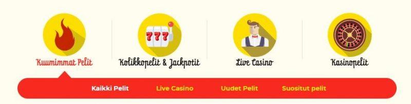 Kassu casinon pelikategoriat