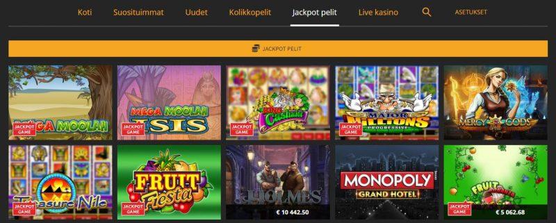 Snabbis kasino tarjoaa kattavan valikoiman jackpot pelejä