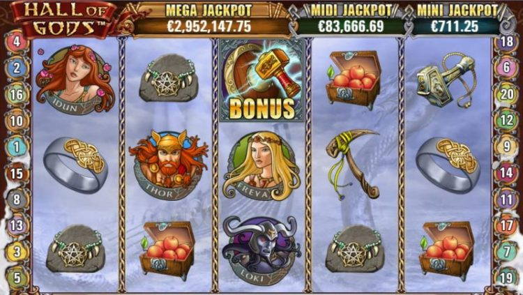 Hall of Gods jackpot peli