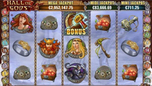 Hall of Gods jackpot peli