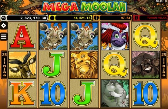 Mega Moolah jackpot kolikkopeli