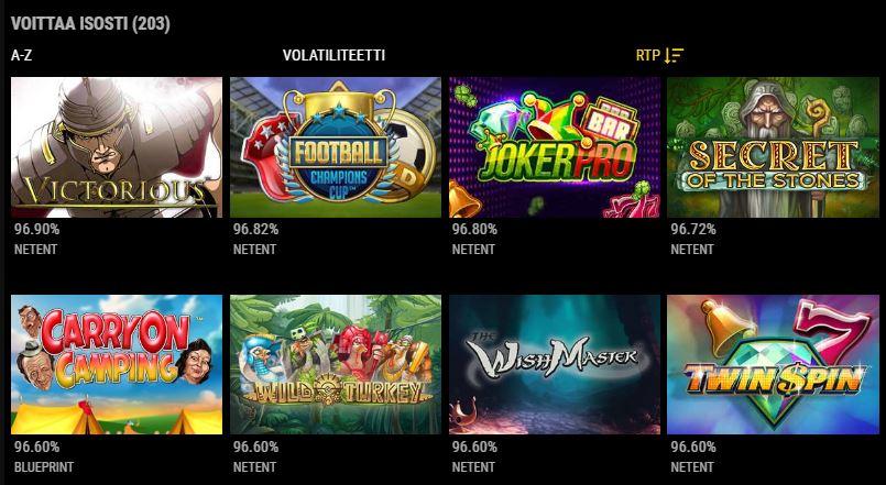VIPs Casino korkean volatiliteetin pelit
