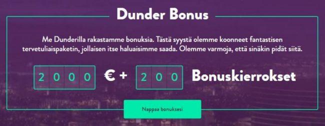 Dunder kasino tarjoaa suuren kasinobonuksen ensitallettajille