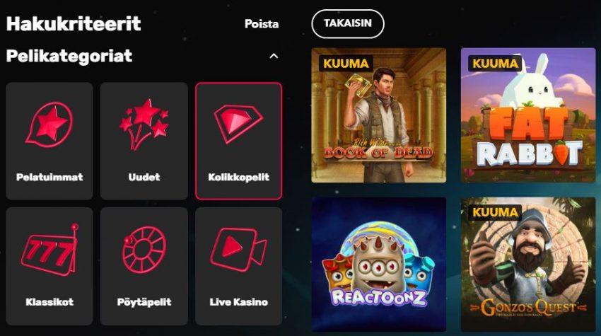 Rocket Casino pelikategoriat ja pelit