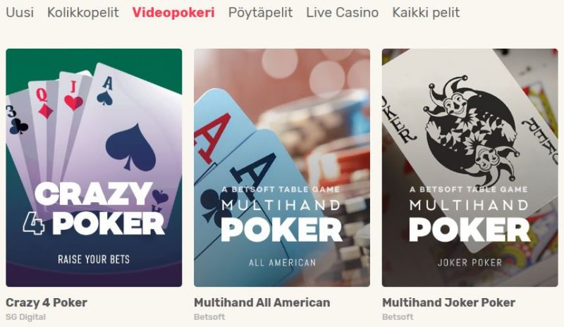 Videopokeri Just Spin casino