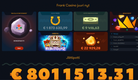 Frank Casino jackpotit