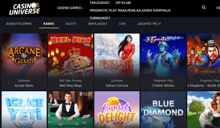 Casino Universe pelit
