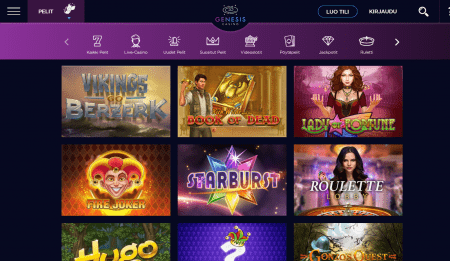 Genesis Casino pelivalikoima