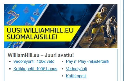 Willian Hill pay n play maksut