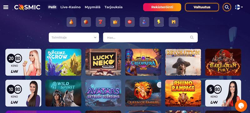 Cosmic Slot Casino pelivalikoima