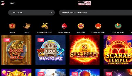 Spin Samurai Casino pelivalikoima