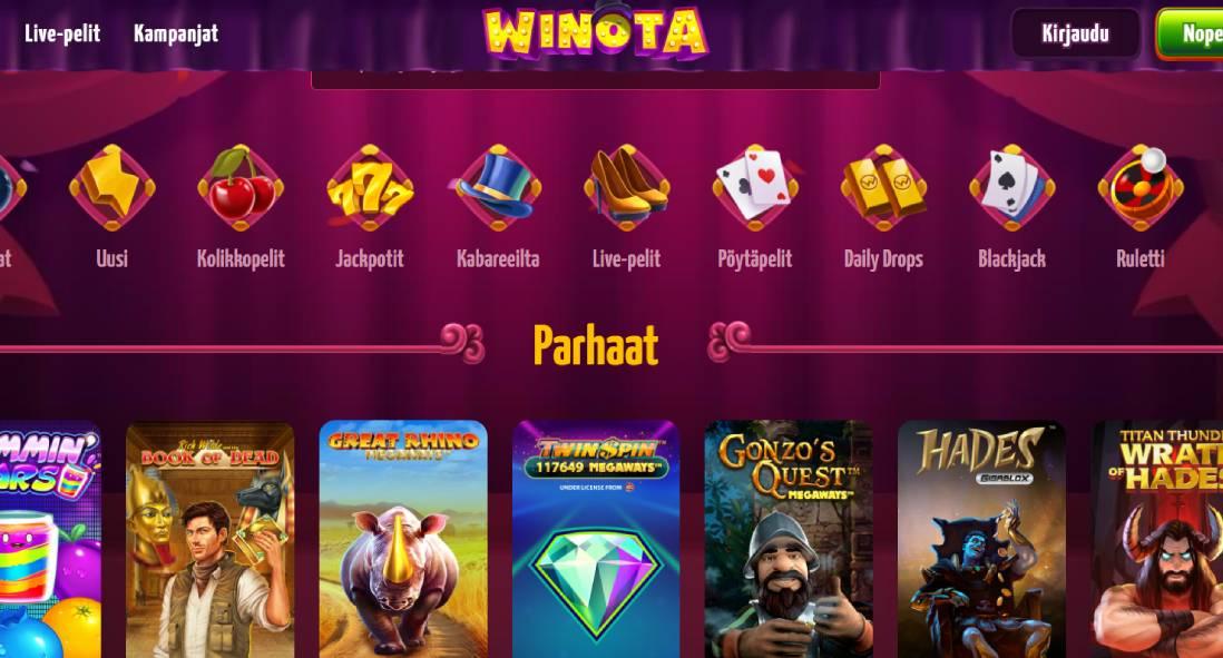 Winota Casino kolikkopelit